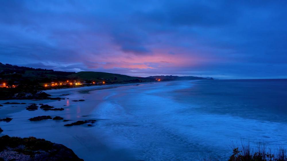 Evening blue beach wallpaper