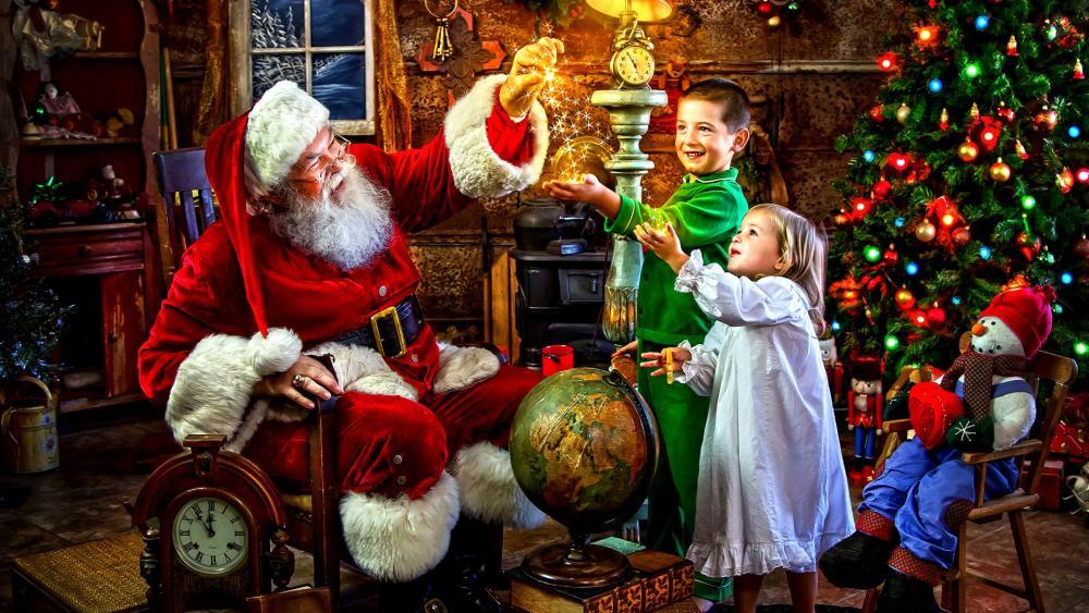 Santa Claus magical stardust wallpaper