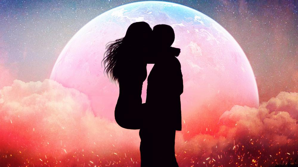 Romantic Kissing Couple Silhouette wallpaper