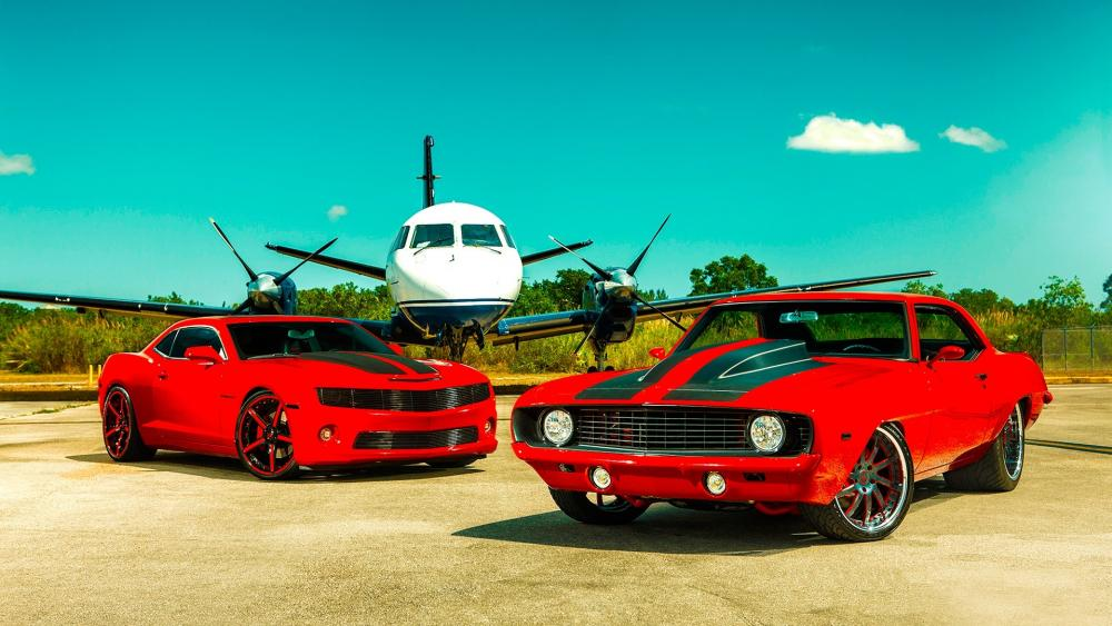 1969 & 2011 Chevrolet Camaros wallpaper