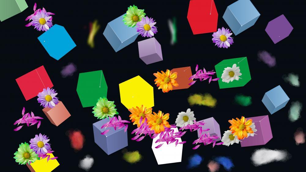 Flowery cubes wallpaper