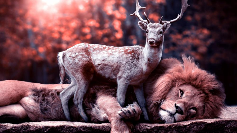 The Reindeer And The Lion wallpaper