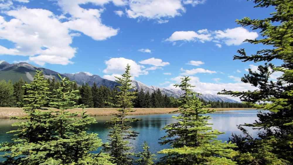Mountain landscape and lake wallpaper
