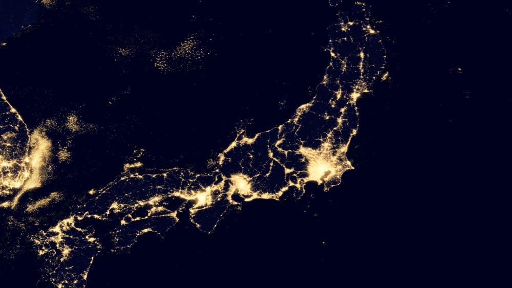 Night Lights of Honshu, Japan v2012 wallpaper