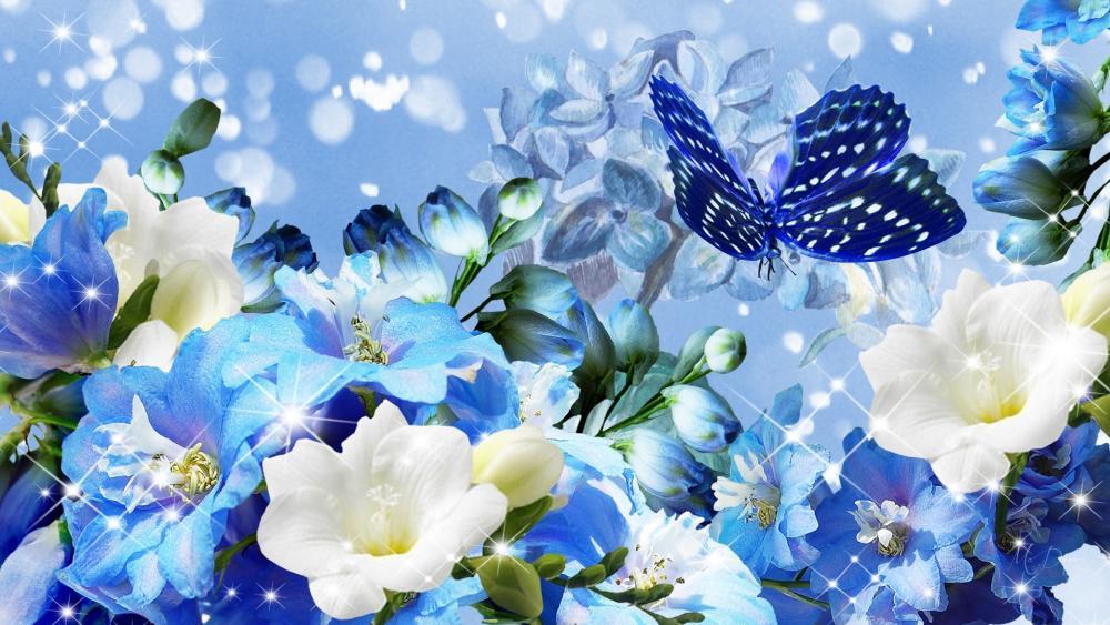 Blume mit Schmetterling wallpaper
