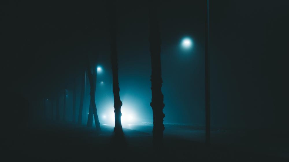 Hazy street at night wallpaper