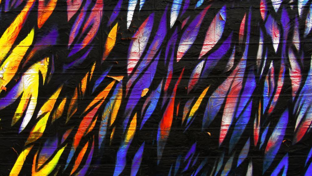 Colorful flame graffiti art wallpaper