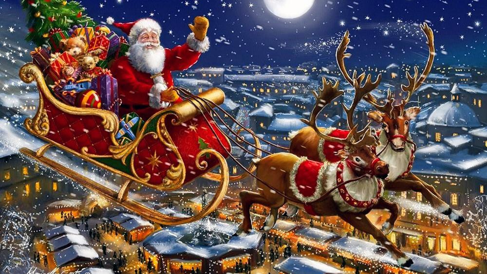Santa Sleigh And Reindeers In Sky wallpaper