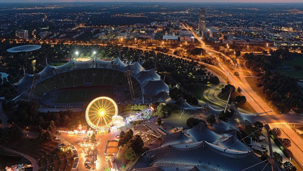 Olympiastadion in Munich at Dusk wallpaper