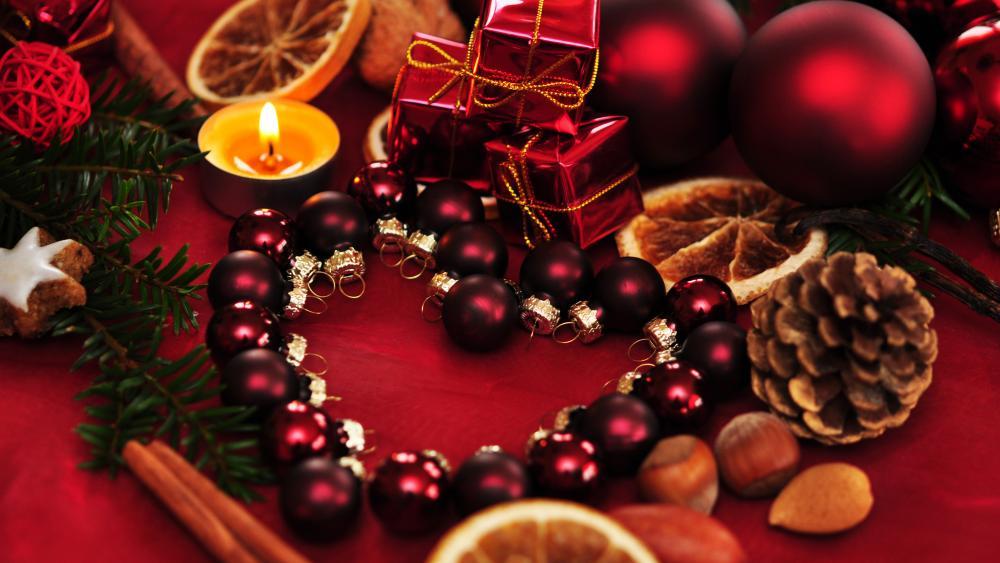 Christmass ball heart wallpaper