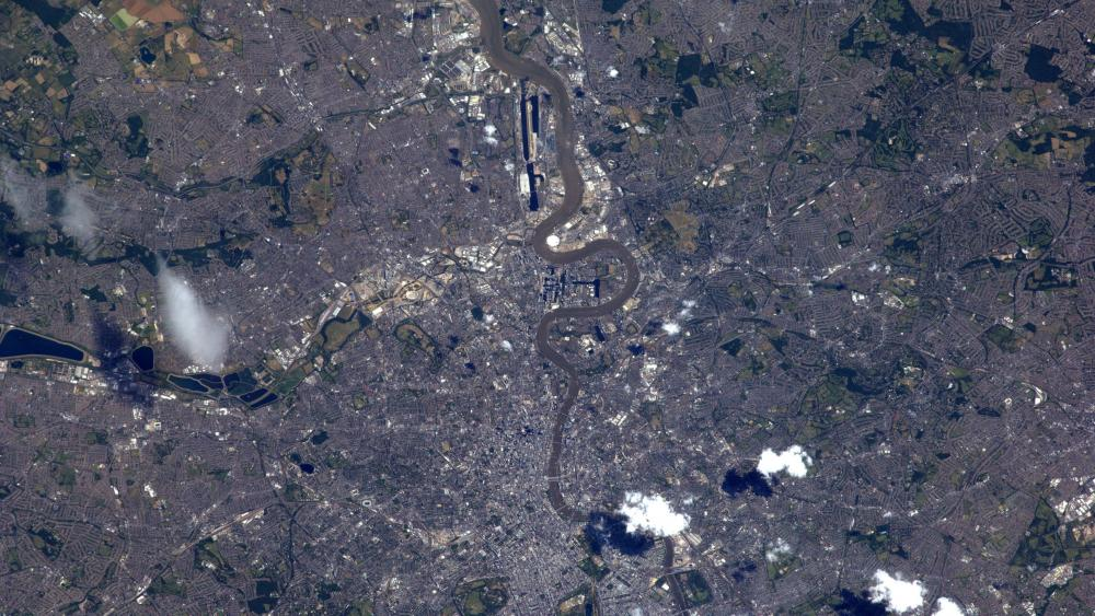 London and the Thames Viewed from ISS wallpaper