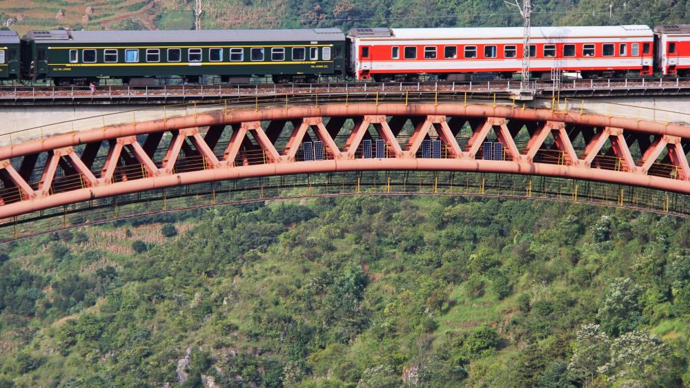 Train Crossing the Beipan River Shuibai Railway Bridge wallpaper