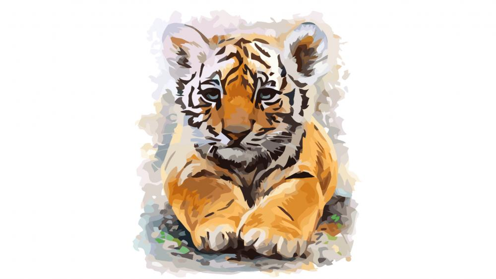 Baby Tiger painting wallpaper
