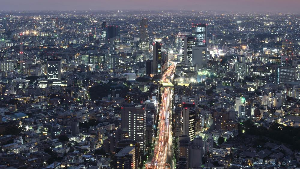 View of Route 3 of the Shuto Expressway from Roppongi Hills Mori Tower wallpaper