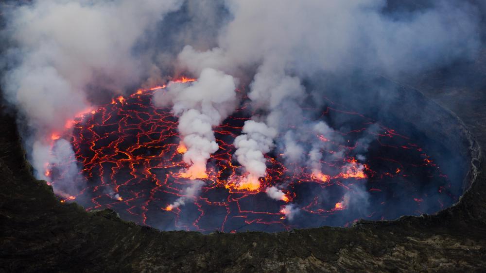 Lava Lake of the Nyiragongo Volcano in Virunga National Park wallpaper