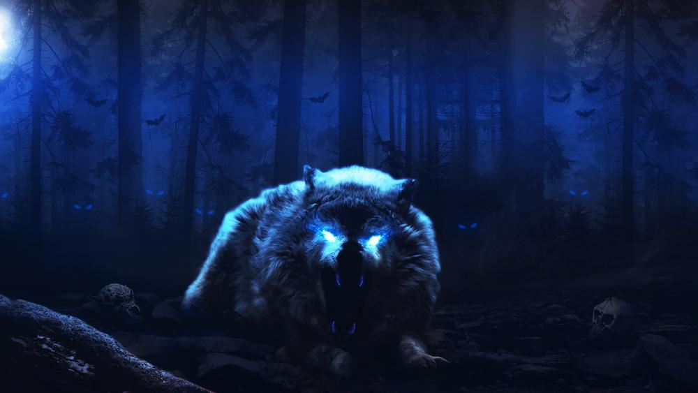 Scary White Wolf wallpaper