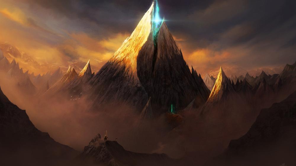 Magical fantasy mountains wallpaper
