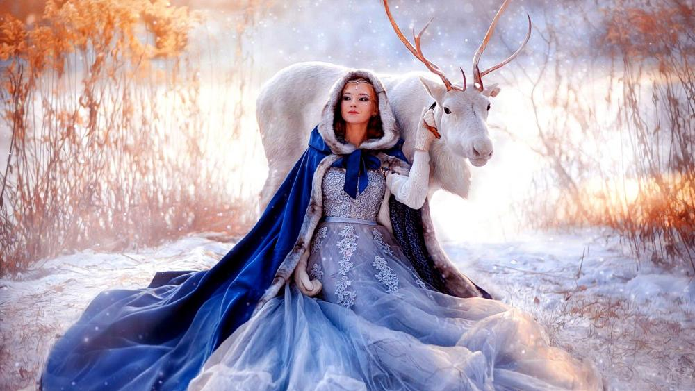 The Princess and the deer under the snowfall wallpaper