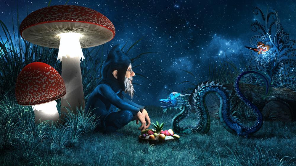 Goblin under the glowing mushrooms wallpaper