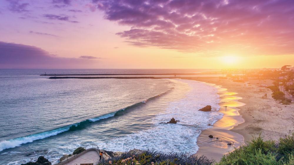 Sunset view at Corona Del Mar wallpaper