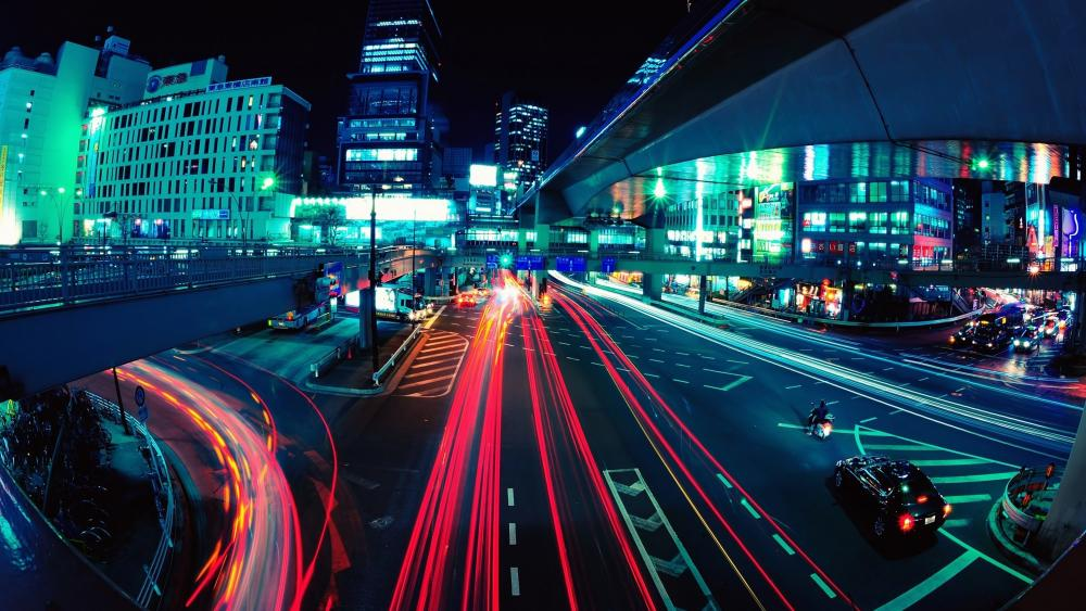 Long-Exposure Photograph at an Intersection in Tokyo, Japan wallpaper