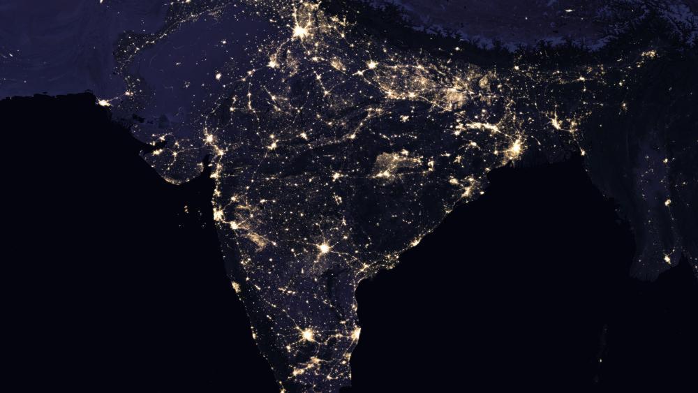 Night Lights of India, Pakistan, Nepal, Bhutan & Myanmar 2016 wallpaper