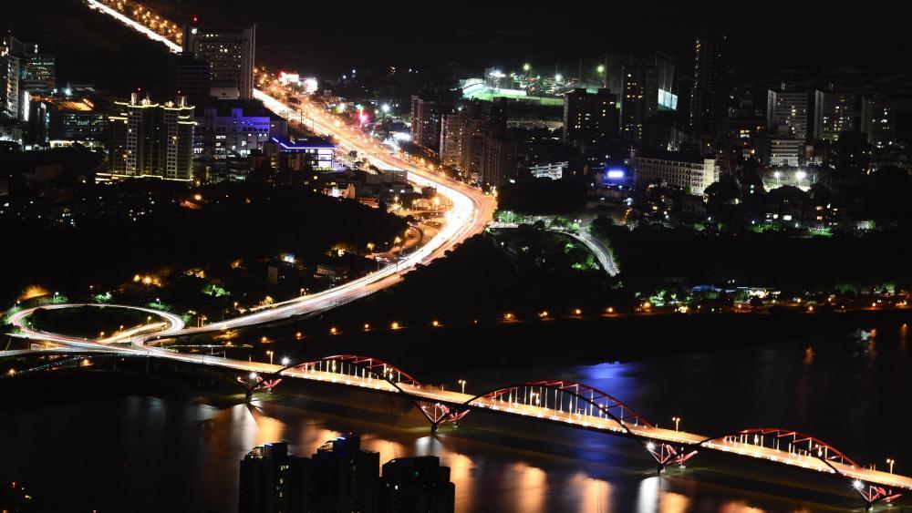 Night View of Taipei and Guandu Bridge wallpaper