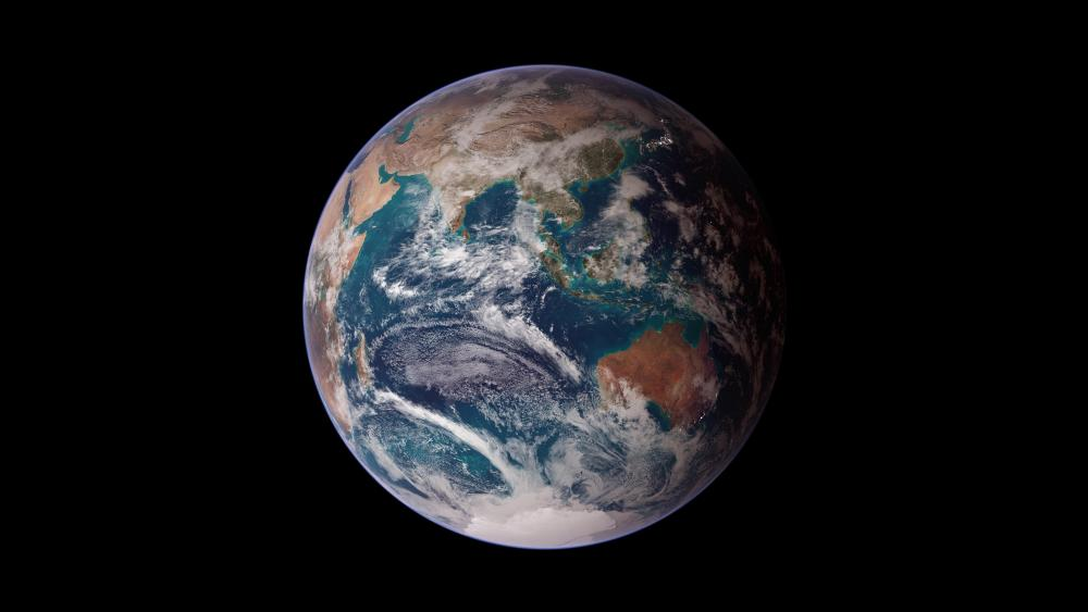 Twin Blue Marbles: Eastern Hemisphere wallpaper