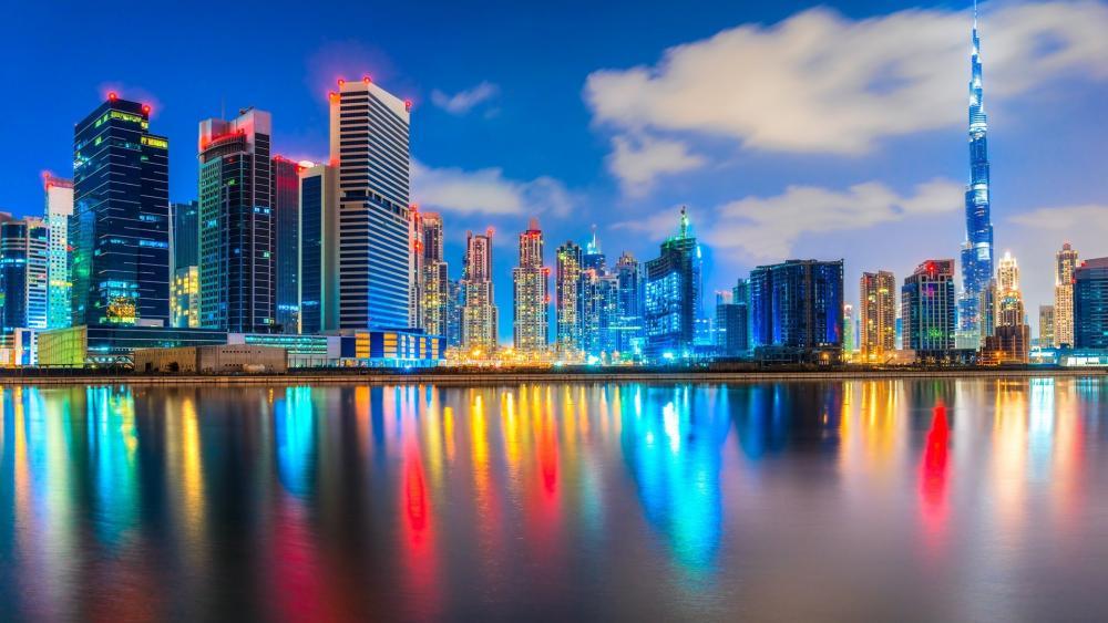 Colorful lights of Dubai with Burj Khalifa wallpaper