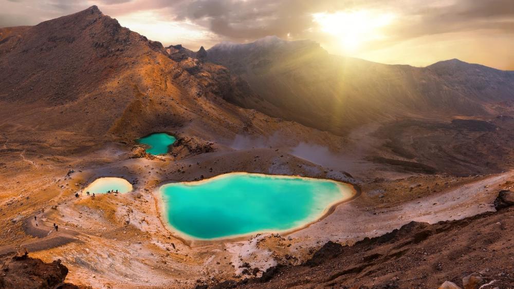 View of Sulphur Lakes, Tongariro National Park, New Zealand wallpaper