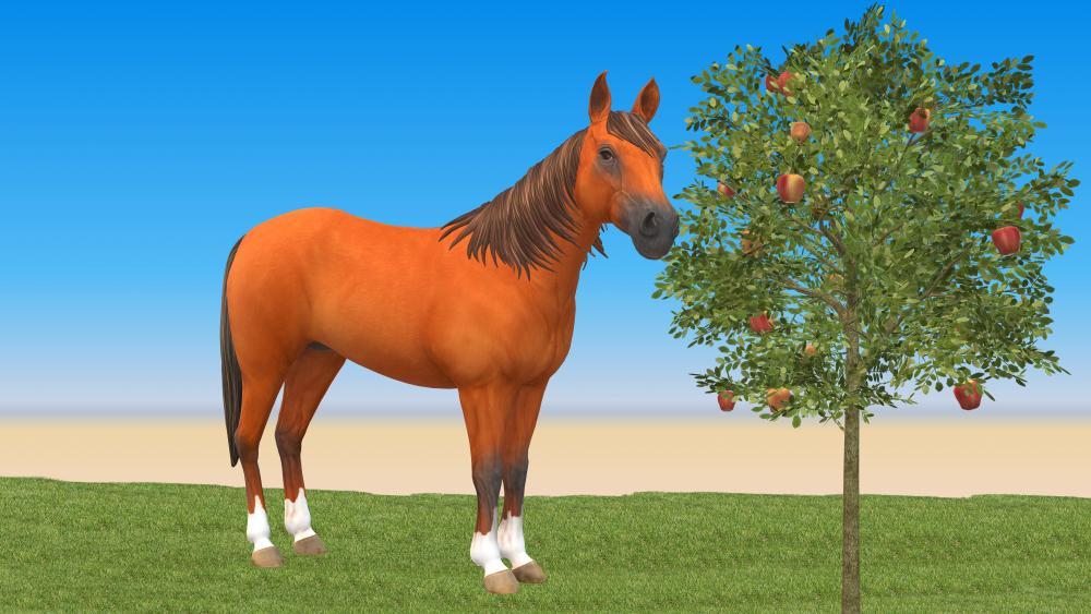 Apple-eating horse wallpaper
