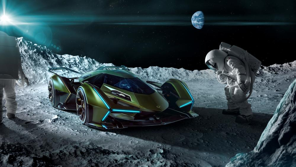 Lamborghini V12 Vision Gran Turismo on the moon wallpaper
