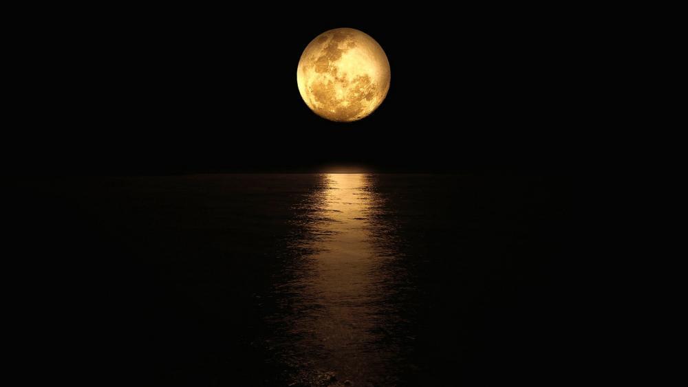 Golden Moon Reflection wallpaper
