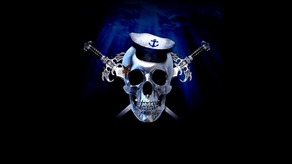 Navy skeleton wallpaper