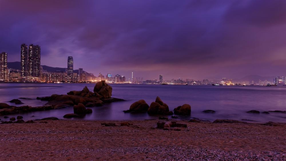 Hong Kong sea at night wallpaper