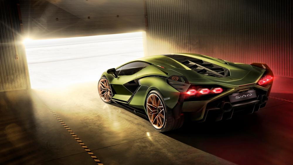 Lamborghini Sian rear view wallpaper