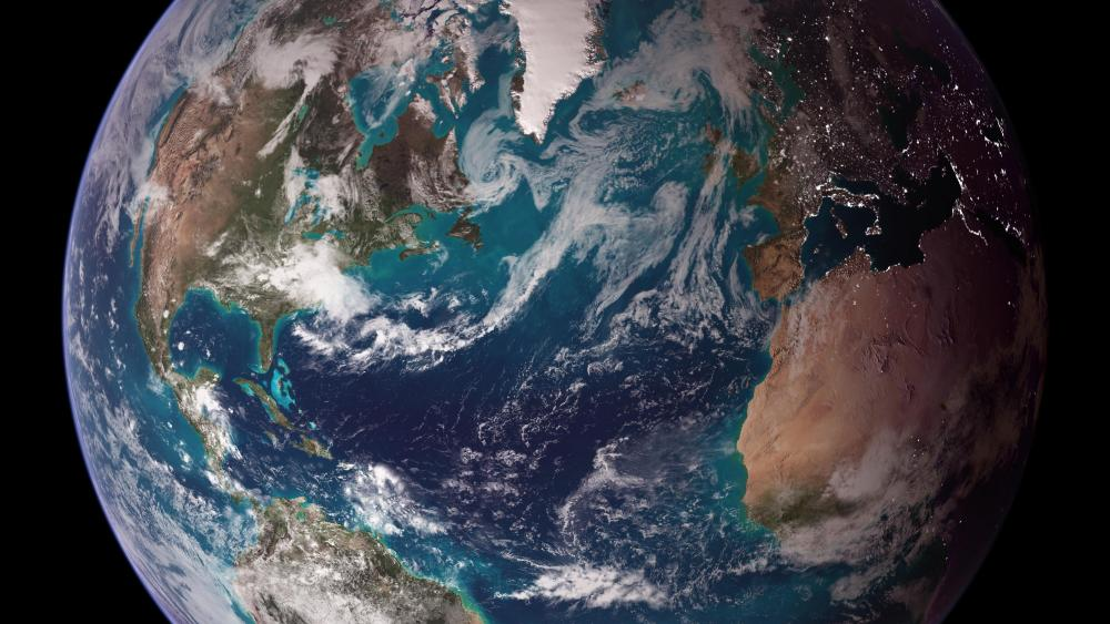 Twin Blue Marbles: Western Hemisphere (Europe, Africa & the Americas) wallpaper