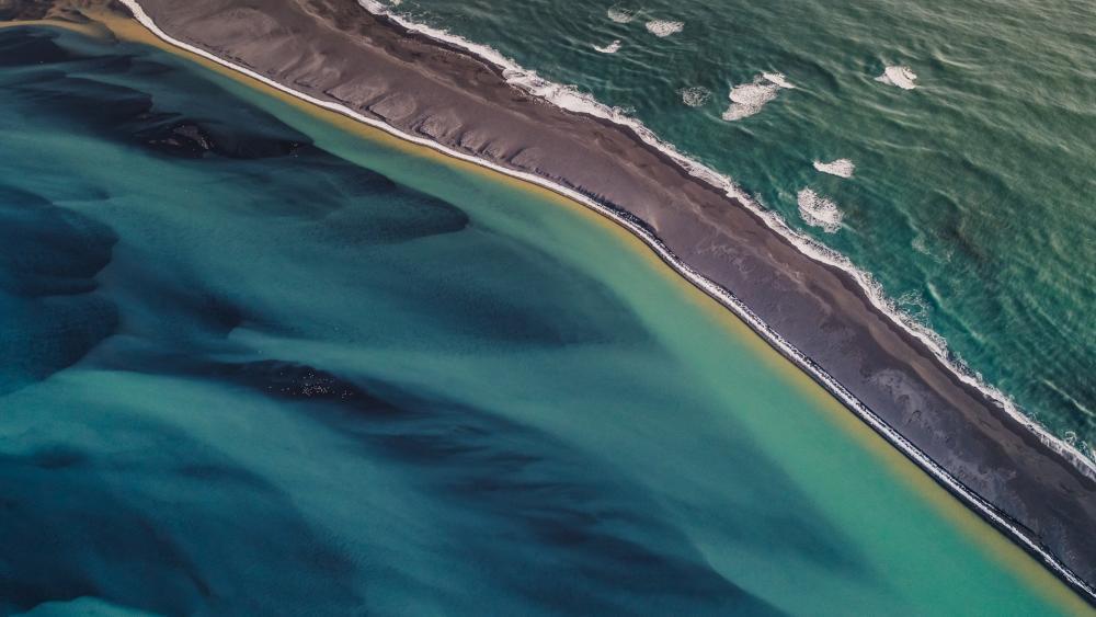 Aerial view of River Thjorsa and Atlantic Ocean wallpaper