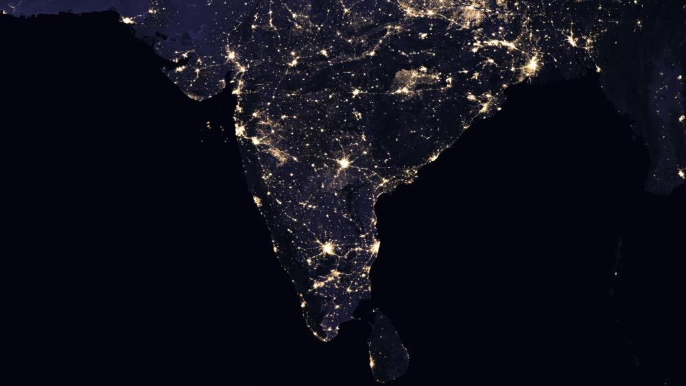 Night Lights of India & Sir Lanka 2016 wallpaper
