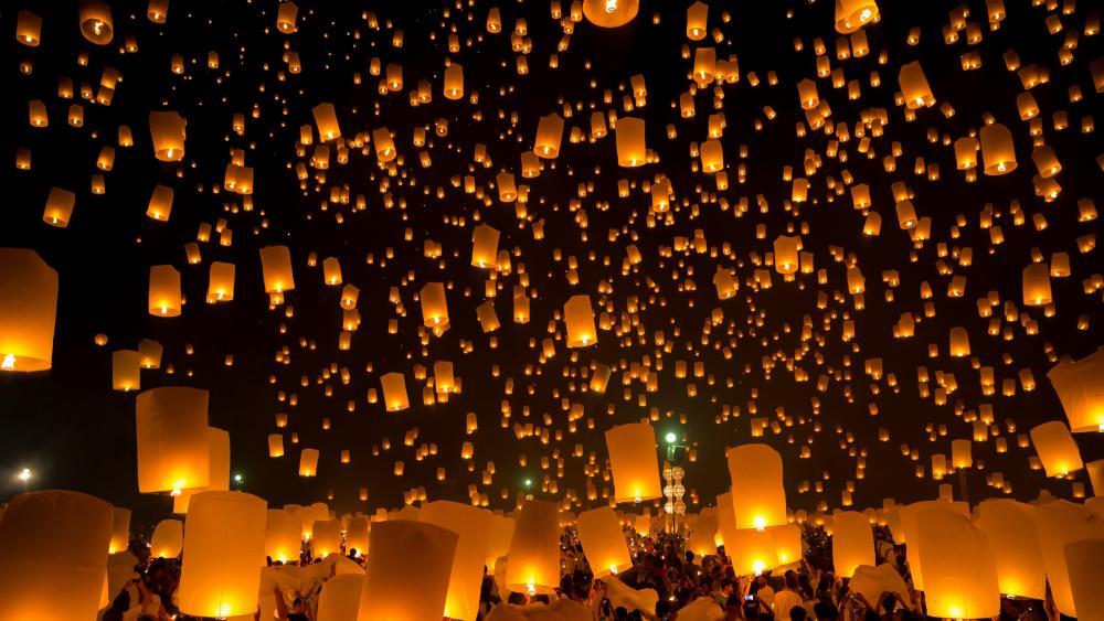 Lantern light festival wallpaper