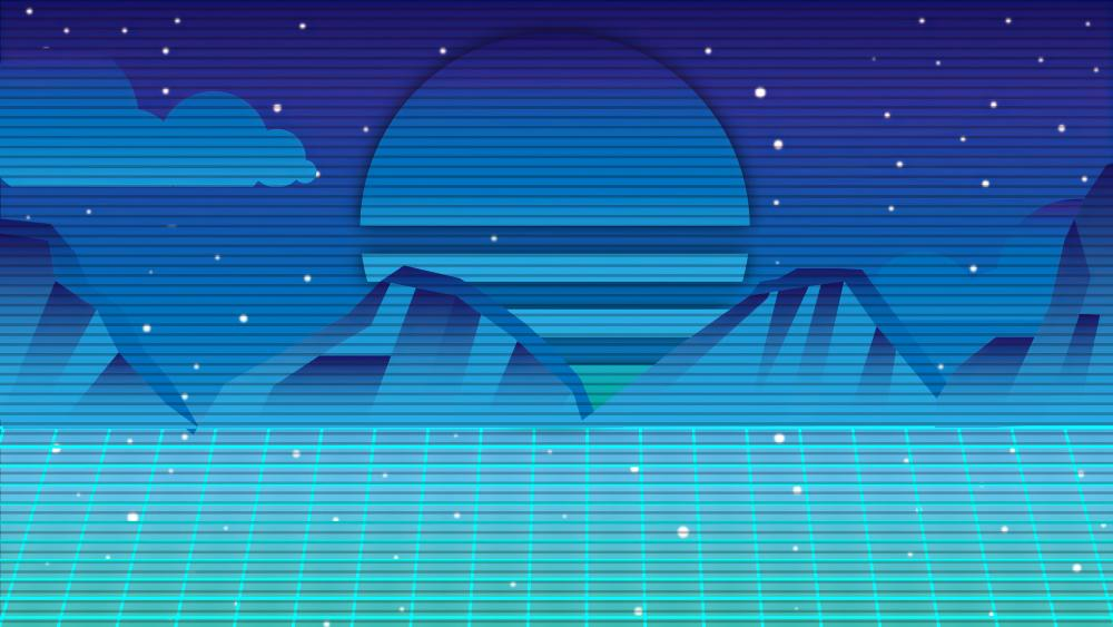 Blue retrowave mountain digital landscape wallpaper