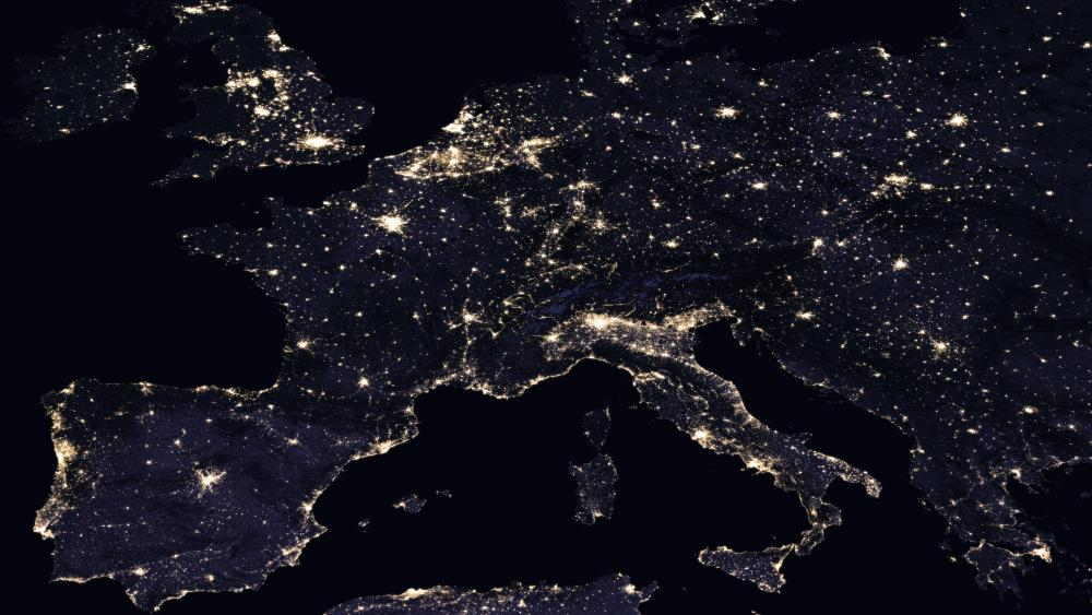 Night Lights of Southern, Western & Central Europe 2016 wallpaper
