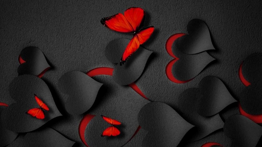 Black hearts valentine wallpaper