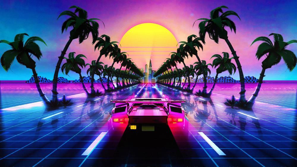Lamborghini Countach retrowave wallpaper