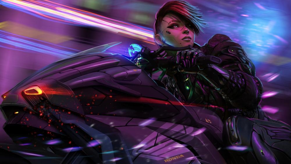 Cyberpunk Anime Biker Girl wallpaper