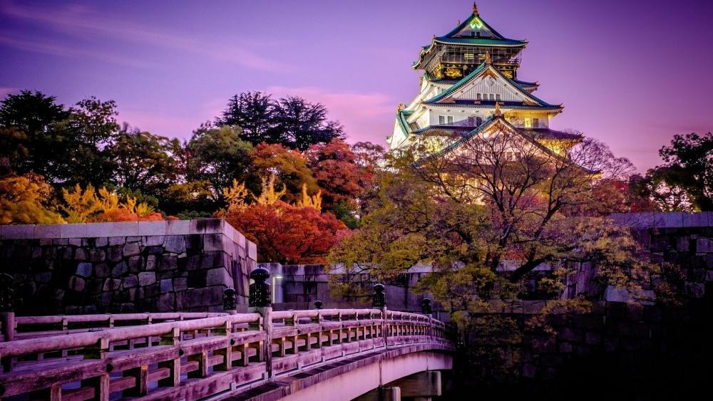 Osaka Castle at fall wallpaper