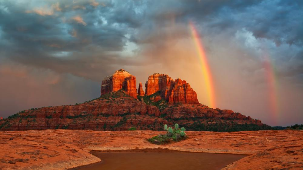 Cathedral Rock with rainbow wallpaper