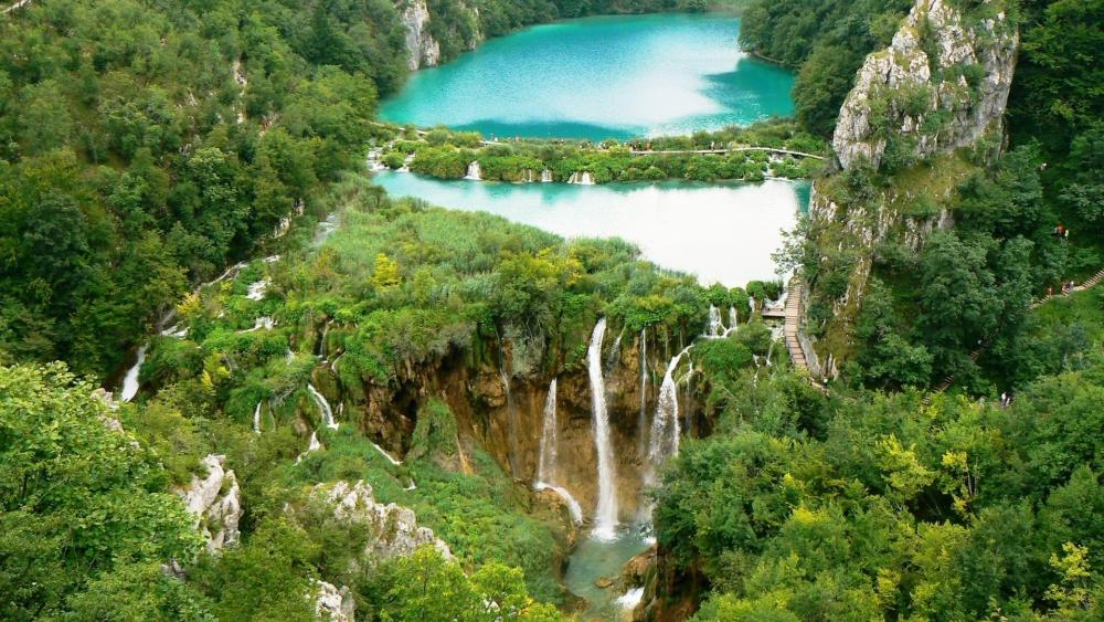 Plitvice Lakes National Park from above wallpaper
