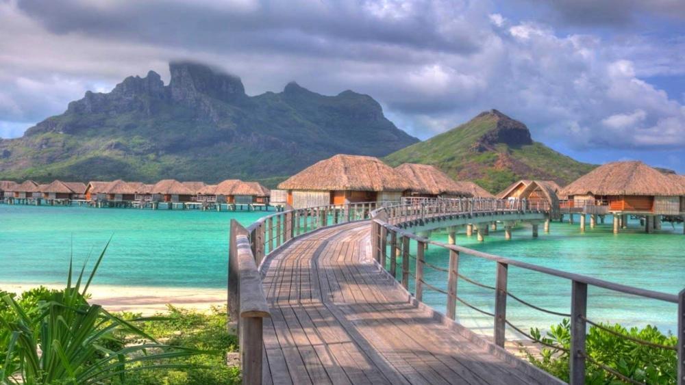 Tropical resort in Bora Bora wallpaper
