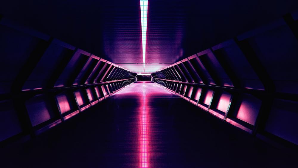 Synthwave corridor wallpaper